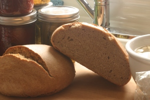 Two small loaves of dense brown bread, based upon a recipe from My Calabria.