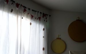Houseproud homestead project - spruce garland and red flannel garland.
