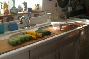 Houseproud homestead kitchen - summer squash ready to be sliced for simple salads.