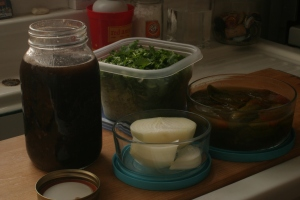 """Oh happy tummy!  A jar of black beans and their """"broth"""", along with assorted toppings.  Add some salt and some hot sauce and you have black bean soup."""