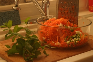 The next step is to add your herbs to your bowl of grated carrots and green onion bits.  I'm using fresh-cut mint for this salad, but other herbs are mighty tasty with carrots, too.  Please note that cilantro ain't one of those herbs (ugh, trust me on that).