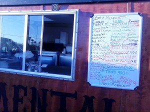 Menu at Taqueria El Semental food truck.  Such yumminess!