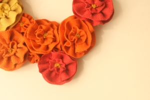 Houseproud projects - Wreath of burlap flowers with yellow stamens close up