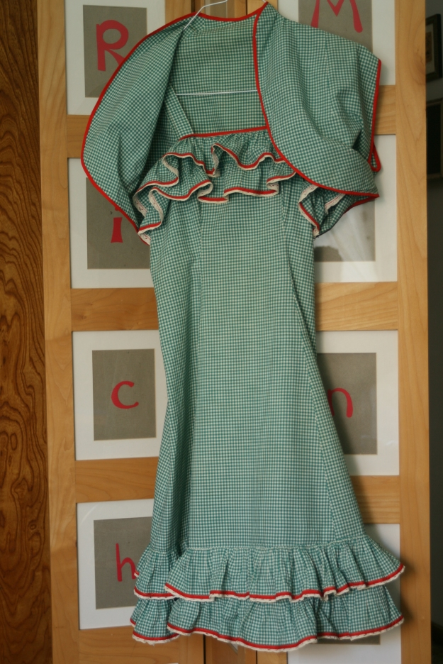 Redux Treasure - green white red sun dress ruffles with matching shrug