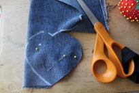 Denim pinned and getting cut out. Make sure your material is sturdy enough to handle being turned without ripping.