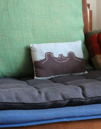 Monument Valley charm pillow in situ